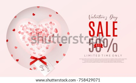 Valentine's Day Sale Promo Web Banner. Beautiful Background with Realistic Transparent Pink Air Balloon with Confetti in the Form of Heart. Vector Illustration with Seasonal Offer. #758429071