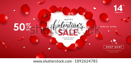 Valentine's Day sale, red rose petals heart shape banners design on red background, Eps 10 vector illustration