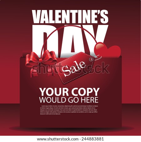 Valentine\'s day sale shopping bag background EPS 10 vector stock illustration