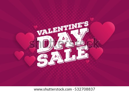 Valentine's Day Sale Vintage comics retro Background With Hearts. Vector illustration