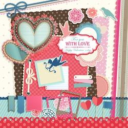 Valentine`s Day scrapbook elements. Vector illustration.