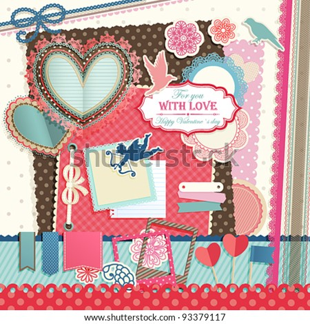 Valentine`s Day scrapbook elements. Vector illustration. - stock vector