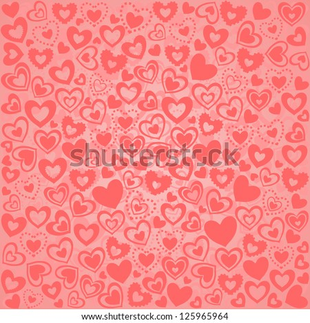 Valentine's Day Seamless Background of Pink Hearts, Vector Version