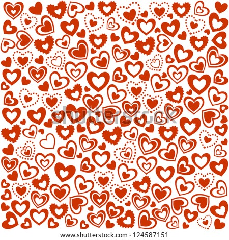 Valentine's Day Seamless Background of Red Hearts, Vector Version