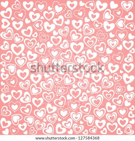 Valentine's Day Seamless Background of White Hearts, Vector Version