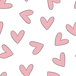 valentine's day seamless pattern background with heart and balloon, perfect for print, fabric,scrapbook, wrapping paper, cards, packaging, graphics. Pink, red, white, purple colors. Vector design.