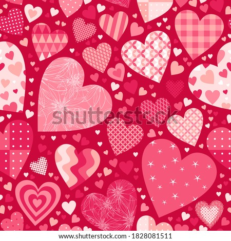 Valentine's day seamless pattern with different hearts.