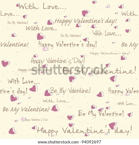 valentine's day seamless pattern with text and hearts