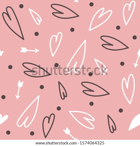 Valentine's day seamless patterns with hearts for Valentine's day