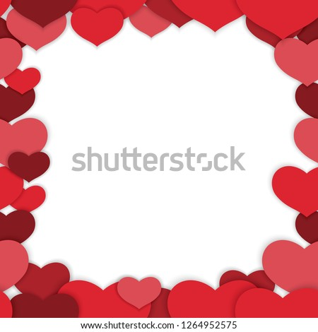 Valentine's Day seamless vector frame illustration. Horizontally and vertically repeatable. #1264952575