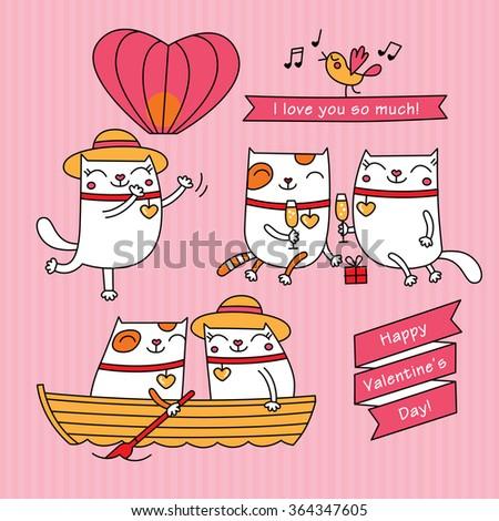 valentine's day set cartoon