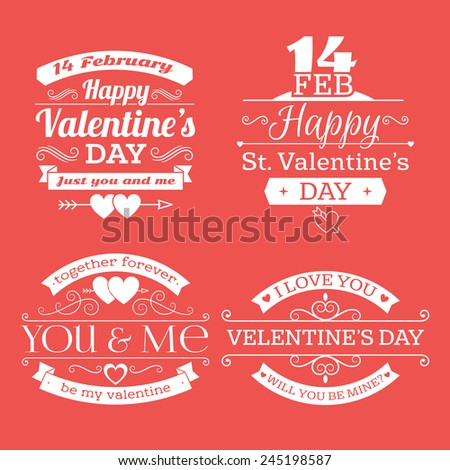 Valentine's day set of label, badges, stamp and design elements. White on red background