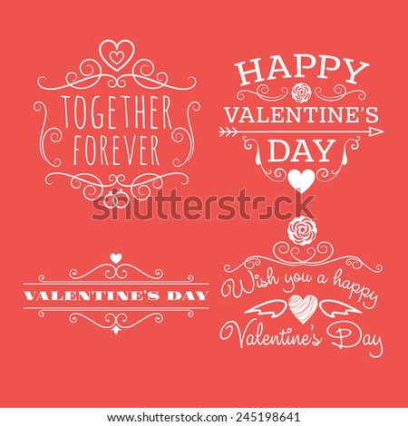 Valentine's day set of label, badges, stamp and design elements. White on red background #245198641