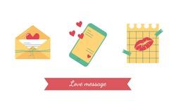 Valentine's day, set of simple icons for a love message in an envelope, a message by phone, a note on a sheet of paper with hearts, a kiss, a ribbon with a bow, with a lettering for the holiday, party