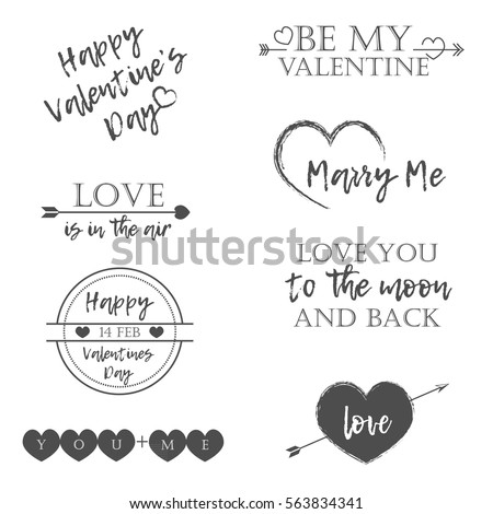 Valentine's Day set of symbols.Calligraphy. Vector illustration. Gray on white background