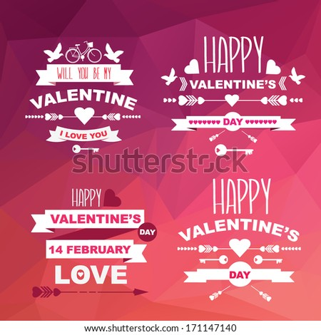 Valentine's Day set of symbols.Typography.Vector illustration. #171147140
