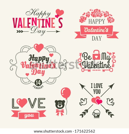 Valentine\'s day. Set of typography elements with hearts.