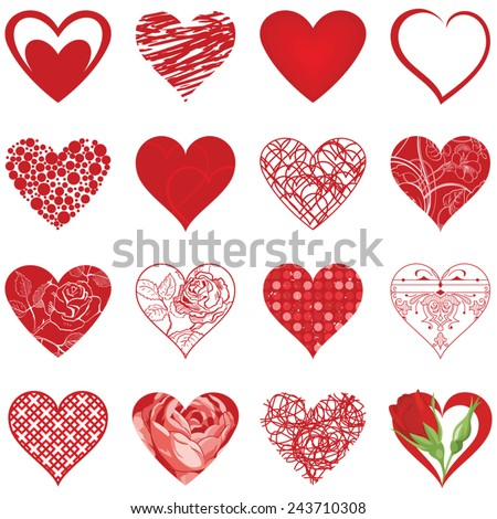 Valentine's Day. Set of various vector hearts.