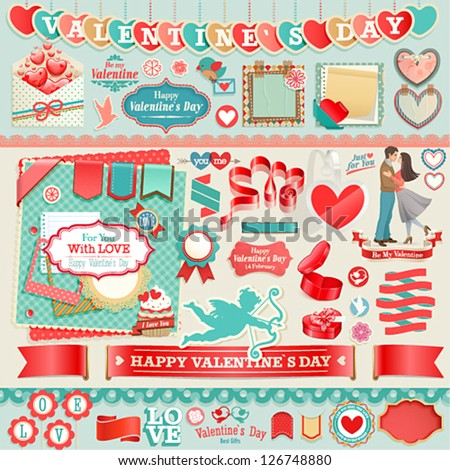 Valentine`s Day set vintage ribbons and other decorative elements