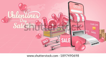 Valentine's day shopping concept background. Pink 3D transparent ball heart with text Valentine's day white. banner shopping sale cute love or greeting card.Pink balloons love in the mobile phone.
