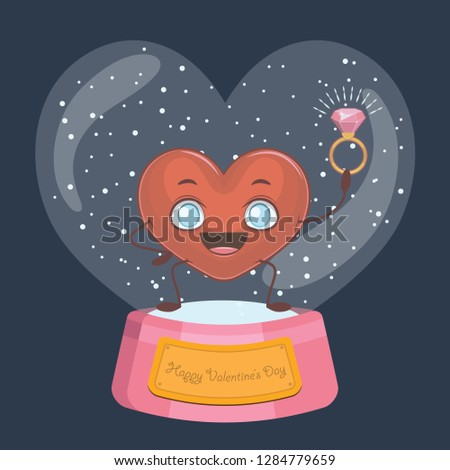 Valentine's Day snowglobe with cute heart mascot