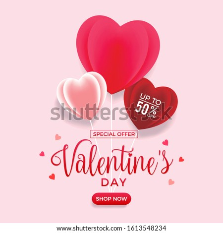 Valentine's day special offer sale. Discount 50% poster template with red and pink hearts