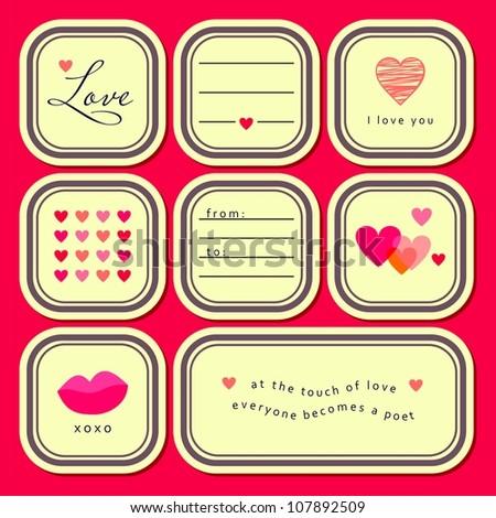 Valentine's day stickers set (vector version)