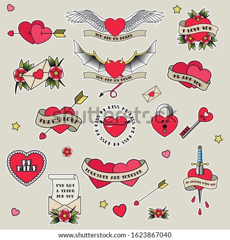 Valentine's Day Tattoo Designs, Old School Style Tattooing, Hearts, Flowers, Ribbons, Arrows, Lock and Key, Dagger, Envelopes, Declaration of Love Sketch Set