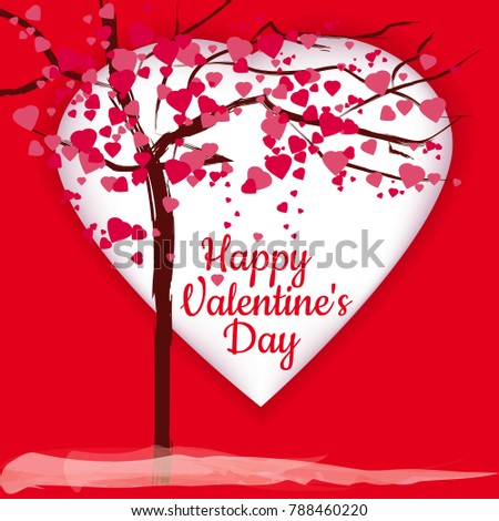 Valentine's day, tree of pink hearts, greeting card, background, red hearts, flare, vector, illustration, isolated #788460220
