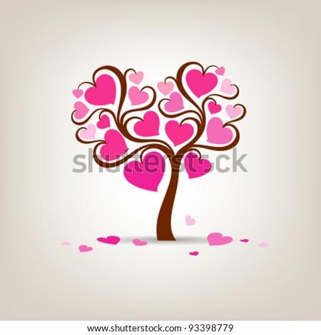 valentine's day tree pink heart