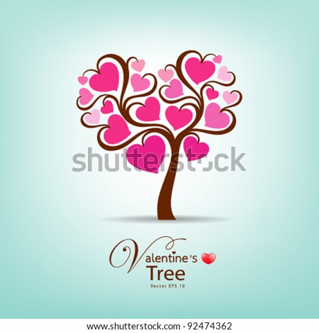 Valentine's Day Tree, vector illustration