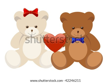 Teddy Bear Valentines Day. hair 6.5cm plush teddy bears with teddy bear valentines day. stock vector