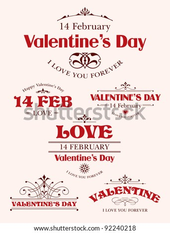 Valentine's Day type text calligraphic Valentine's headline with heart - stock vector