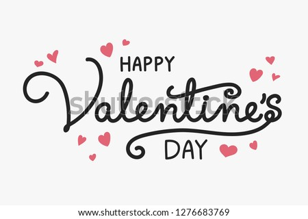 Valentine's Day typography with cute hand drawn hearts. Vector #1276683769