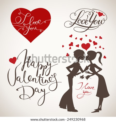 Young Couple In Love Beautiful Hearts Decorated Background Vector