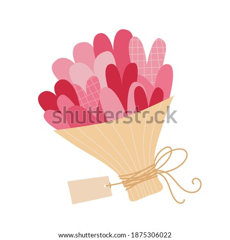 Valentine's day vector illustration of bouquet with pink hearts in craft wrapper with ribbon bow and label tag card.
