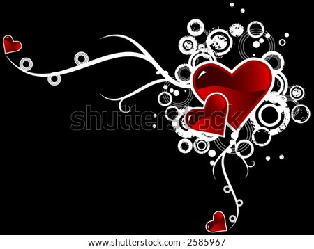 Valentine's day vector image with ink splats and vines. Funky and retro image.