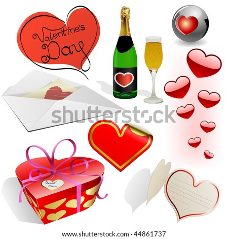 Valentine's day vector set. Different holiday symbols isolated on white background.