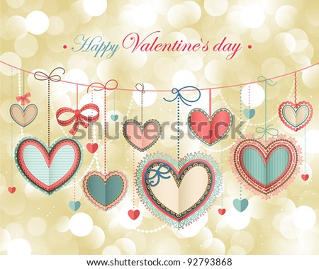 Valentine`s Day vintage card with lacy paper hearts and place for text.