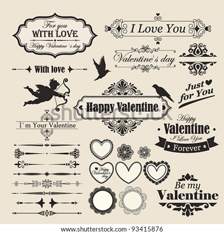 Valentine`s Day vintage design elements and letterning.