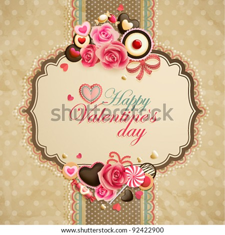 Valentine`s Day vintage lace card with sweets and place for text.