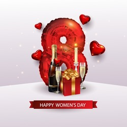 Valentine's day, women's day, Anniversary, wedding day romantic symbols of love. The red color of the form of figure eight, foil, glasses, gift, a bottle of wine. 3 d realistic balls