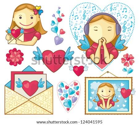 Valentine's Girls Set - stock vector