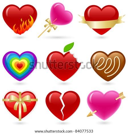 Valentine's heart shaped icon set.