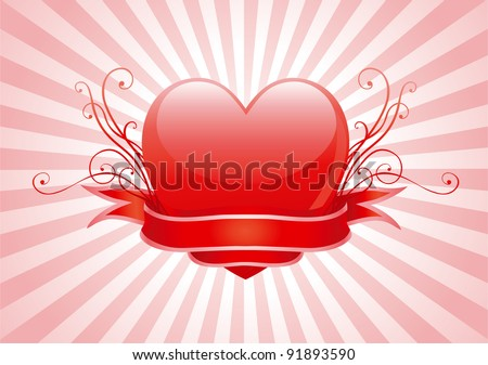 Valentine's heart. Vector illustration of shine red heart, ornament and ribbon on abstract background with radial rays
