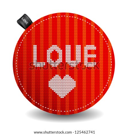 Valentine's knitted label with a heart