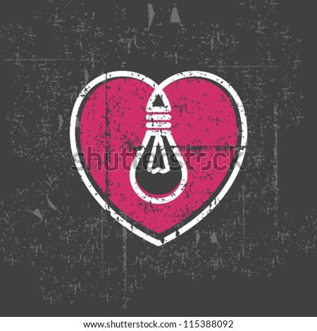 valentine s lamp on grunge background - stock vector