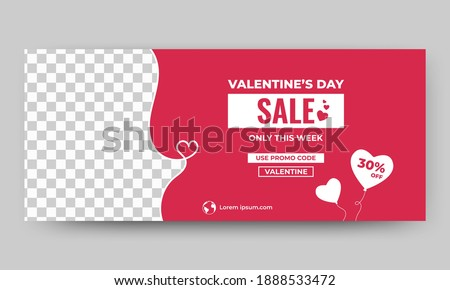 Valentine's sale banner template. Red background with love balloon decoration. Flat design vector with a photo collage. Usable for banner, background, and cover.