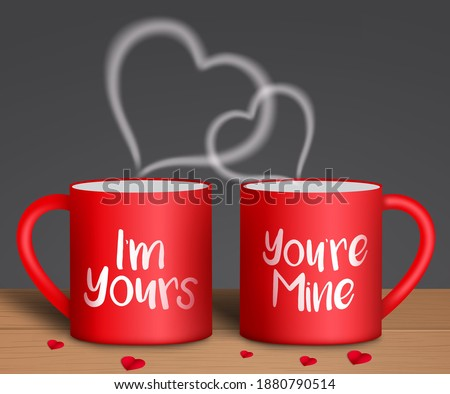 Valentine's vector background concept. I'm yours and you're mine text in red coffee mug with paper cut hearts element for romantic valentine's day lovers celebration design. Vector illustration Photo stock ©