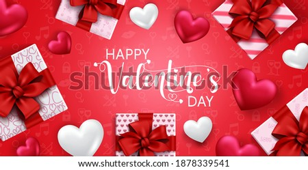 Valentine's vector banner background. Happy valentine's day text with gift and heart valentine elements for love celebration and decoration design. Vector illustration